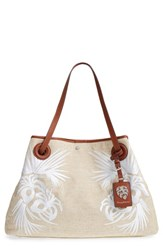 Tommy Bahama Waikiki Embroidered Canvas Tote Ivory