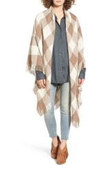 Treasure And Bond Women's Buffalo Check Blanket Wrap Tan Combo