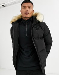 Sik Silk Siksilk Puffer Jacket In Black With Faux Fur Hood