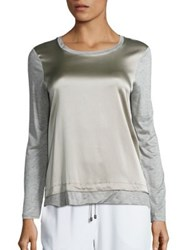 Peserico Silk Front And Jersey Knit Top Taupe