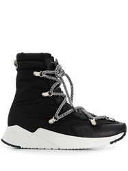 Grey Mer Contrasting Lace Up Boots Black
