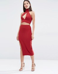 Club L Rib Detail Midi Skirt Burgundy Red