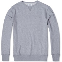 Officine Generale Japanese Terry Crew Neck Sweat Grey Heather