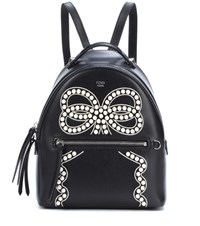 Fendi Mini Embellished Leather Backpack Black