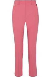 Petar Petrov Cropped Cotton Blend Slim Leg Pants Pink