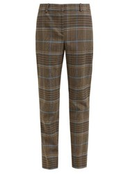 Givenchy High Rise Checked Wool Blend Trousers Grey Multi