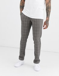 Farah Elm Prince Of Wales Check Trousers In Sand Tan
