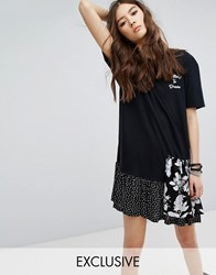 Reclaimed Vintage Inspired T Shirt Dress With Contrast Ruffle And Front Print Black