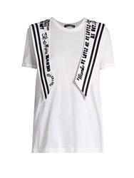 Dolce And Gabbana Embroidered Sailor Collar Cotton Jersey T Shirt White Multi