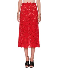 Valentino Guipure Lace A Line Midi Skirt Red
