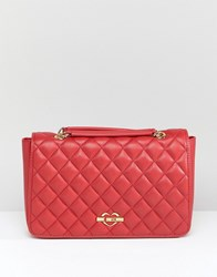 Love Moschino Quilted Shoulder Bag With Chain Strap Red