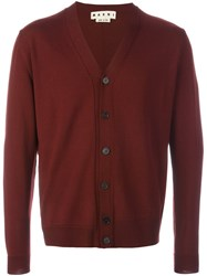 Marni V Neck Cardigan Red