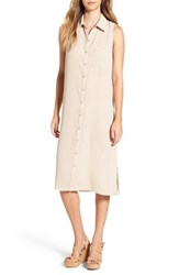 Love Squared Women's Sleeveless Shirtdress Taupe
