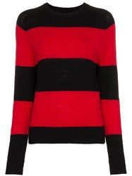 Re Done Striped Long Sleeve Crew Neck Jumper Black