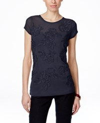 Inc International Concepts Petite Embroidered Cap Sleeve Blouse Only At Macy's Deep Twilight