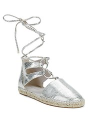 Kenneth Cole Bara Embossed Lace Up Espadrilles Soft Gold