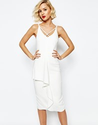 Lavish Alice Deep Plunge Strap And Frill Detail Midi Dress White