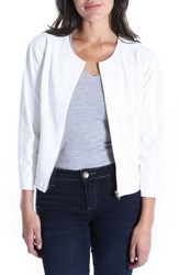 Kut From The Kloth Faux Leather Perforated Scoop Neck Jacket White