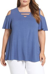 Bobeau Plus Size Women's Strappy Cold Shoulder Top Chambray