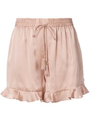 Zimmermann Ruffled Trim Shorts Women Silk Polyester 1 Nude Neutrals