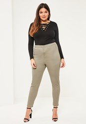 Missguided Plus Size Khaki High Waisted Skinny Jeans