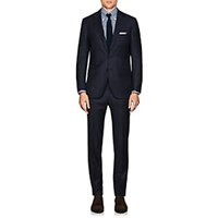 Sartorio Pg Plaid Wool Two Button Suit Navy