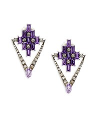 Bavna Champagne Diamond Amethyst And Sterling Silver Statement Earrings No Color