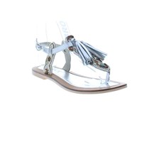 Bronx Strappy Toe Thong With Tassle Silver