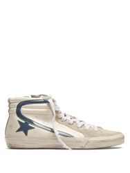 Golden Goose Slide High Top Leather Trainers Cream Multi