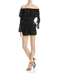 Bb Dakota Cavell Lace Trim Off The Shoulder Romper Black