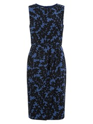 Hobbs Abstract Leaf Dress Shadow Blue