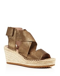 Eileen Fisher Metallic Leather Espadrille Wedge Sandals Bronze