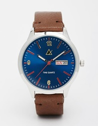 Asos Watch With Red Highlights Brown