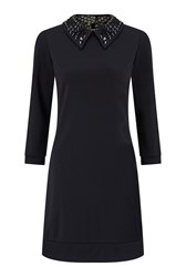 James Lakeland Dress With Embellished Collar Black
