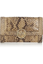 Michael Michael Kors Snake Effect Leather Clutch Animal Print