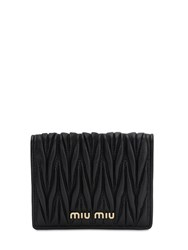 Miu Miu Compact Quilted Leather Wallet Black
