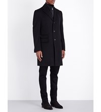 Corneliani Zip Insert Single Breasted Wool Coat Black