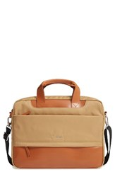 Lodis Alexus Nylon And Leather Briefcase Brown Light Brown