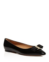 Salvatore Ferragamo Emy Pointed Toe Bow Flats Black Gold