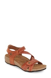 Women's Taos 'Trulie' Wedge Sandal Burnt Orange Leather