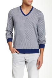 Ben Sherman Geo V Neck Sweater Blue