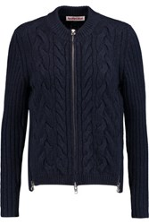 See By Chloe Zip Detailed Cable Knit Wool Blend Jacket Midnight Blue