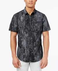 Inc International Concepts Men's Jetsam Abstract Print Short Sleeve Shirt Only At Macy's Dark Lead