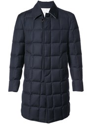 Thom Browne Downfilled Classic Bal Collar Overcoat In Navy Super 130'S Wool Twill Feather Down Polyester Wool Goose Down Blue