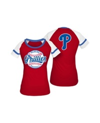 5Th And Ocean Women's Philadelphia Phillies Athletic Baseball T Shirt Red