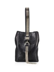 Lanvin Small Python And Leather Wristlet Black