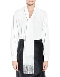 Pink Tartan Fringed Tie Blouse Off White