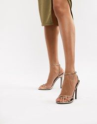 f4d832696a7 Boohoo Strappy Heeled Sandal In Snake Orange