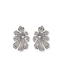 Lulu Frost Camellia Crystal Flower Stud Earrings Silver