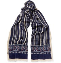 Drakes Drake's Printed Silk And Modal Blend Scarf Navy